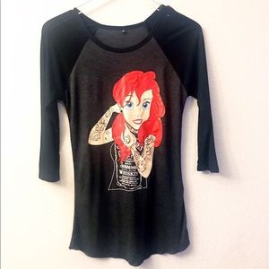 Little Mermaid Tattooed Ariel Raglan Tee 3/4 slv